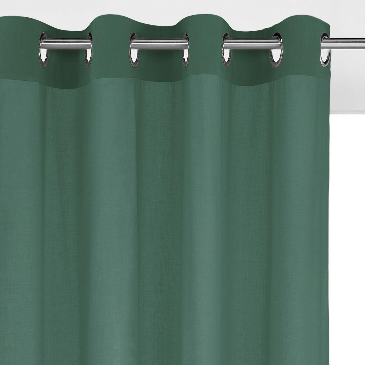 Занавеска LaRedoute С отверстиями 100 хлопок Scenario 180 x 135 см зеленый