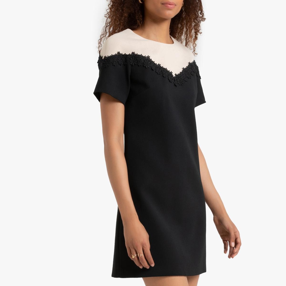 Платье La Redoute Прямое двухцветное с короткими рукавами S черный