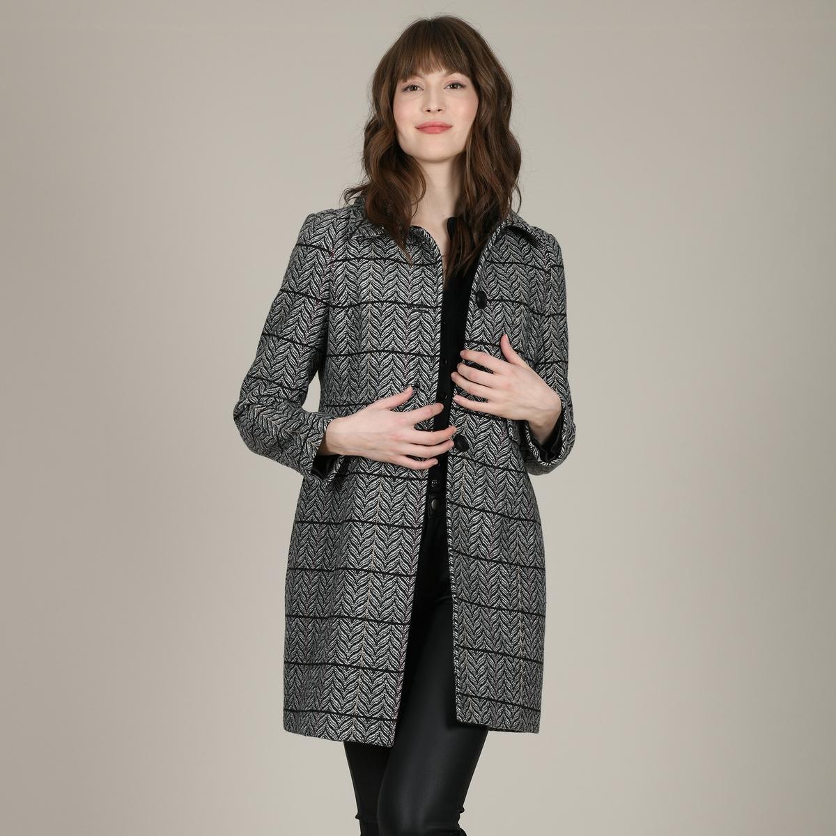 все цены на Пальто La Redoute Прямое средней длины с рисунком и застежкой на пуговицы L черный онлайн