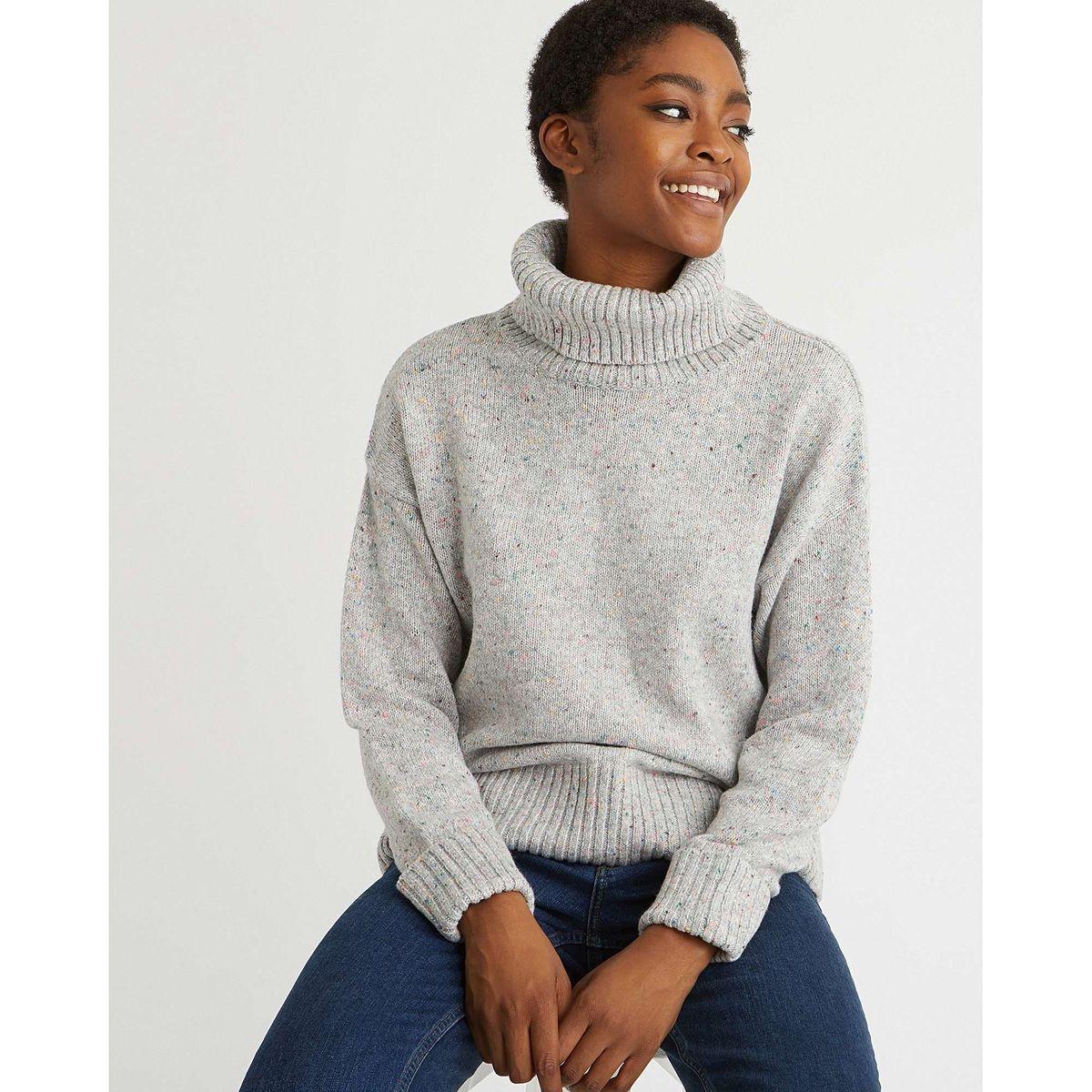Pull chiné en maille tricot col haut