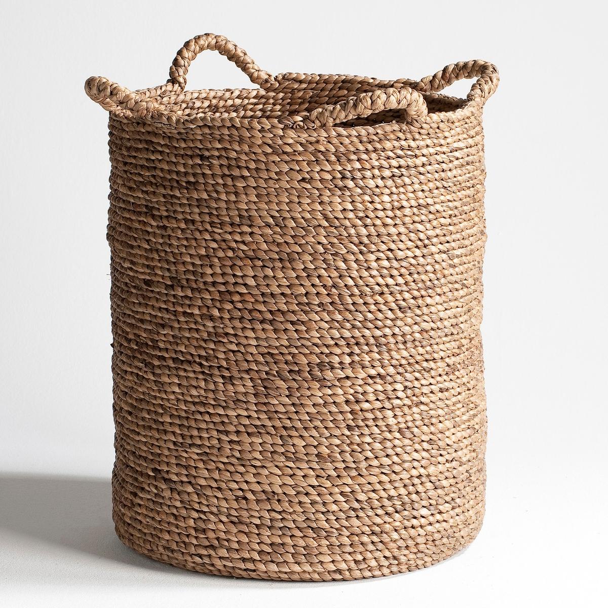 Круглая плетеная корзина В55 см, RagaХарактеристики: : - Из мягких плетеных волокон эйхорнии.- 4 ручки.  - Ручная работа.  Размеры : - ?35 x В.55 см<br><br>Цвет: серо-бежевый<br>Размер: 35 x 55 см