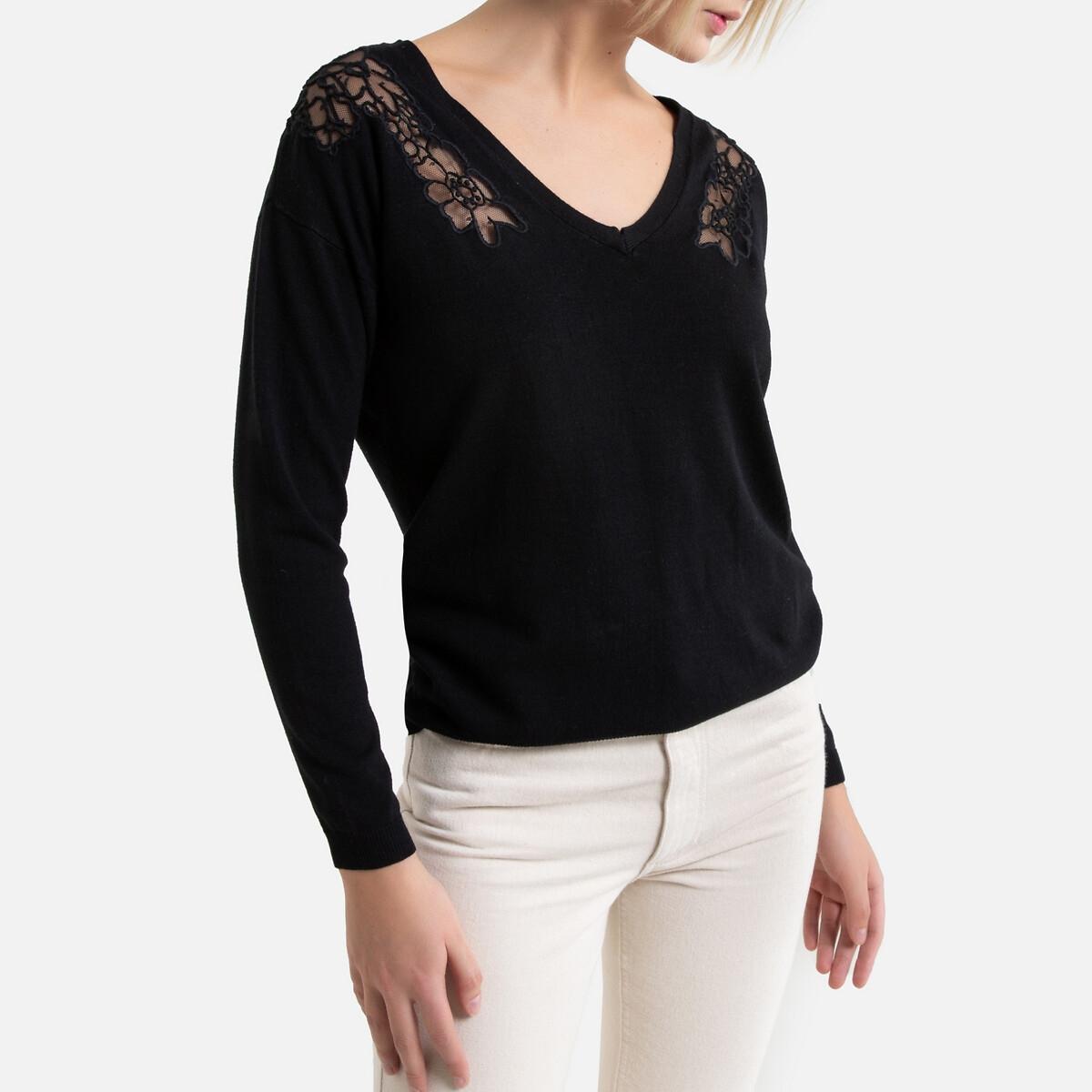 Пуловер La Redoute С v-образным вырезом из тонкого трикотажа с кружевом S черный