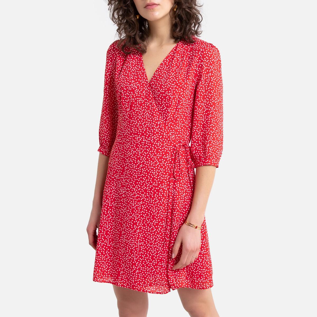 Платье La Redoute Короткое с запахом с принтом Rawnak M оранжевый