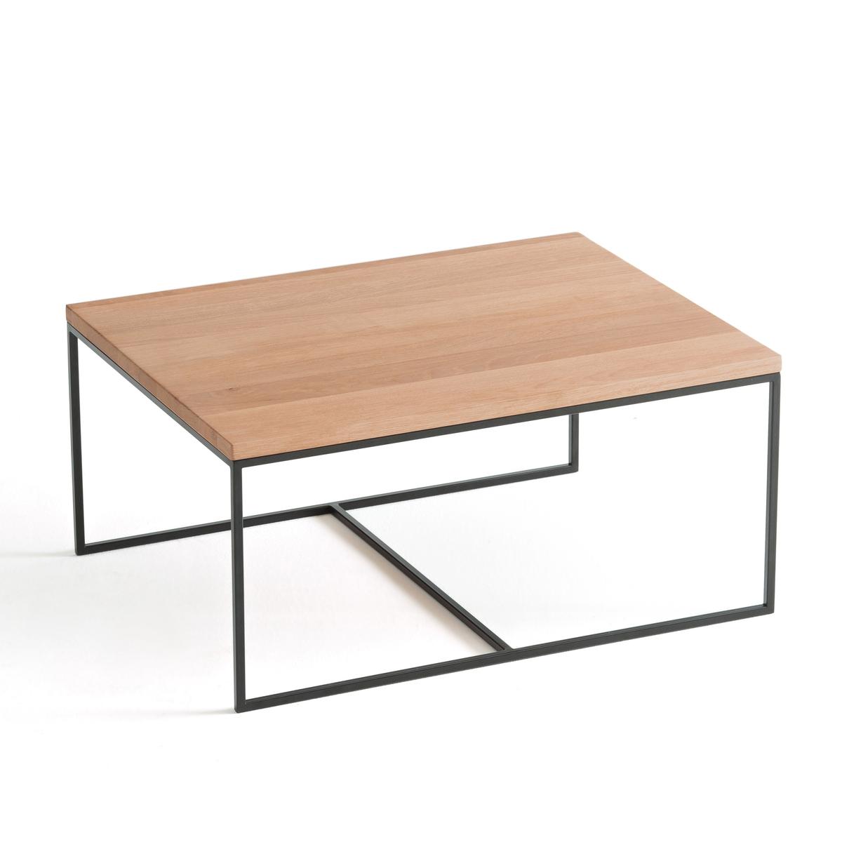 Стол LaRedoute Журнальный из дуба Auralda маленький размер единый размер каштановый столик laredoute журнальный из дуба покрытого олифой adelita единый размер каштановый