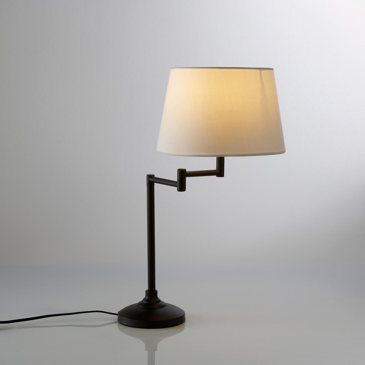 Лампа с гибкой ножкой, NynaЛампа с гибкой ножкой Nyna .Роскошная лампа Nyna с гибкой ножкой привнесут изысканность в ваш интерьер Описание лампы  Nyna  :Низ цоколя круглой формы Абажур из хлопковой ткани светло-бежевого цвета .Гибкая ножка на шарниреПатрон E14 для флюокомпактной лампочки макс 8W (не входит в комплект)  Этот светильник совместим с лампочками    энергетического класса   : AХарактеристики светильника  Nyna  :Метал с эпоксидным покрытием черного матового цвета Абажур из хлопковой ткани светло-бежевого цвета  .Кабель из черного пластика .Найдите другие лампы и светильники на сайте laredoute.ruРазмеры лампы Nyna :Подставка : ? 14 см. Высота 3.2 см Абажур : ? 26 см,Высота 16.5 см Общая высота : 53 см<br><br>Цвет: черный