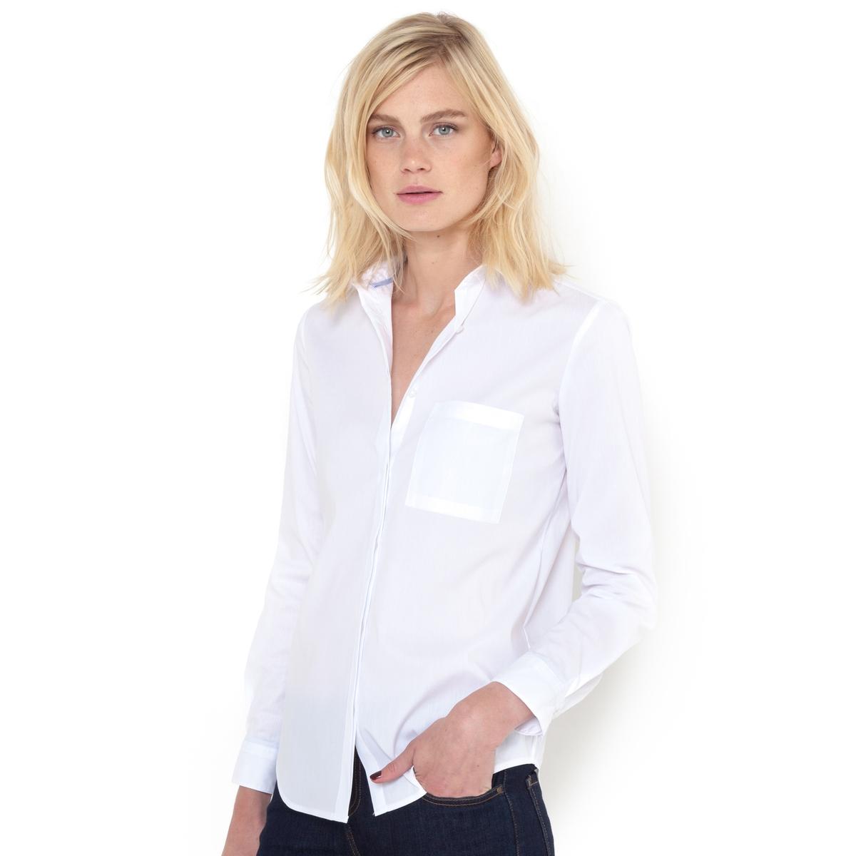Рубашка однотонная из хлопкового поплина стрейч. Длинные рукава. рубашка в полоску из поплина стретч длинные рукава