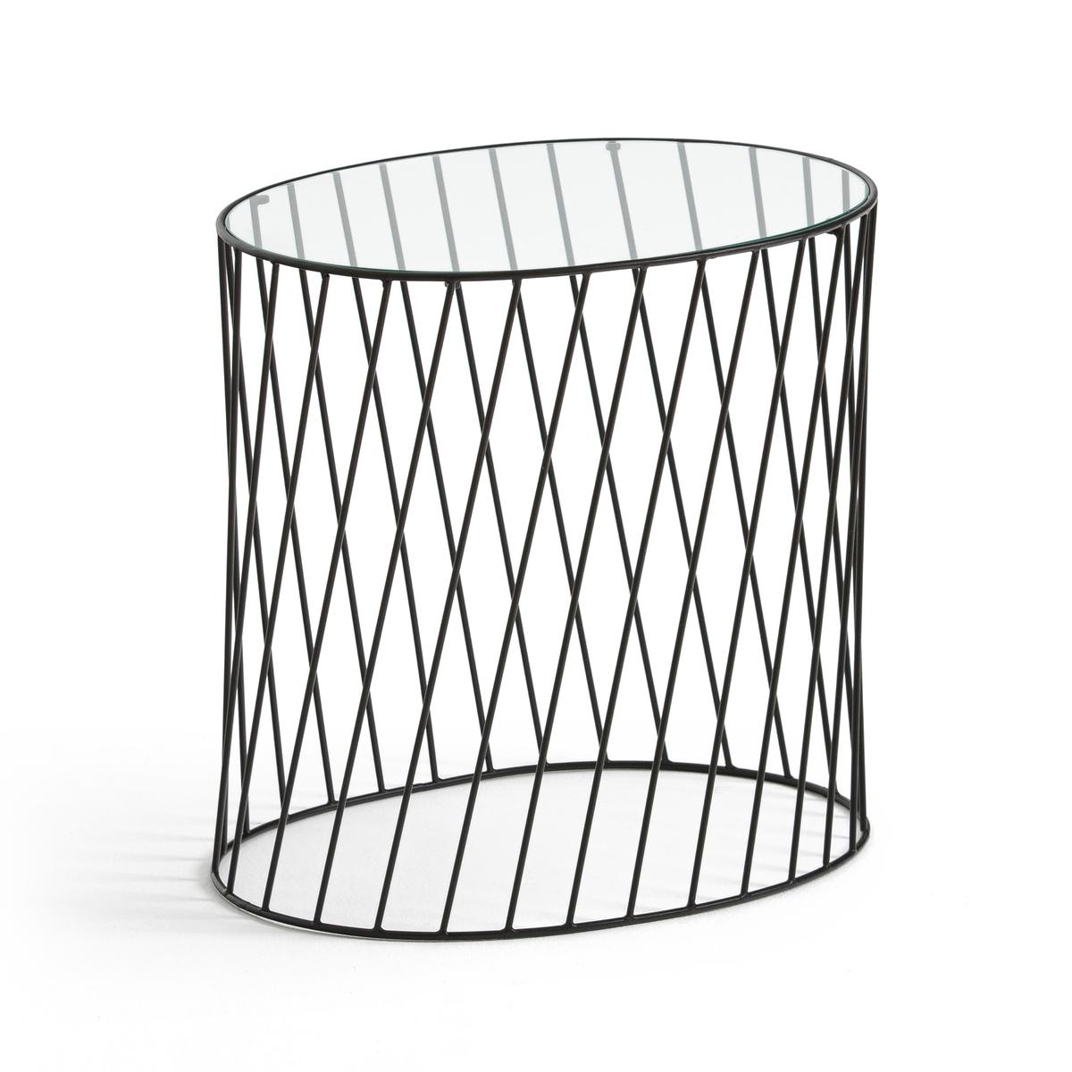 Столик прикроватный из металла и стекла, ELORI