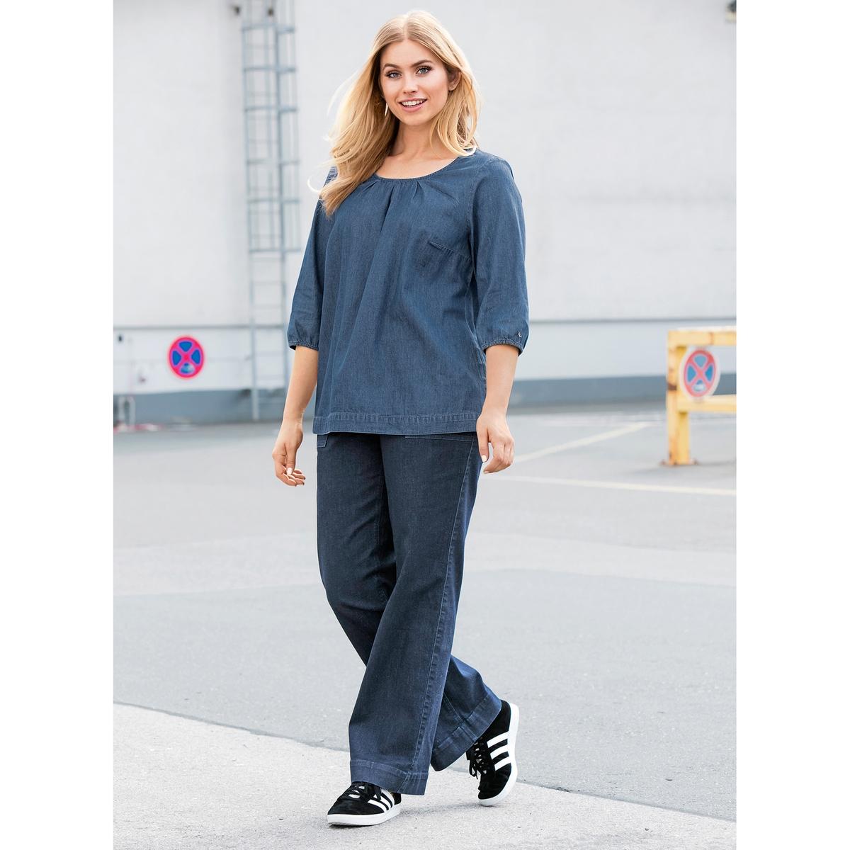 БлузкаМягкая блузка из денима ULLA POPKEN. Свободный круглый вырез, низ с кулиской и рукава 3/4 с краями на резинке. 100% хлопок. Длина в зависимости от размера. 68-78 см<br><br>Цвет: синий джинсовый