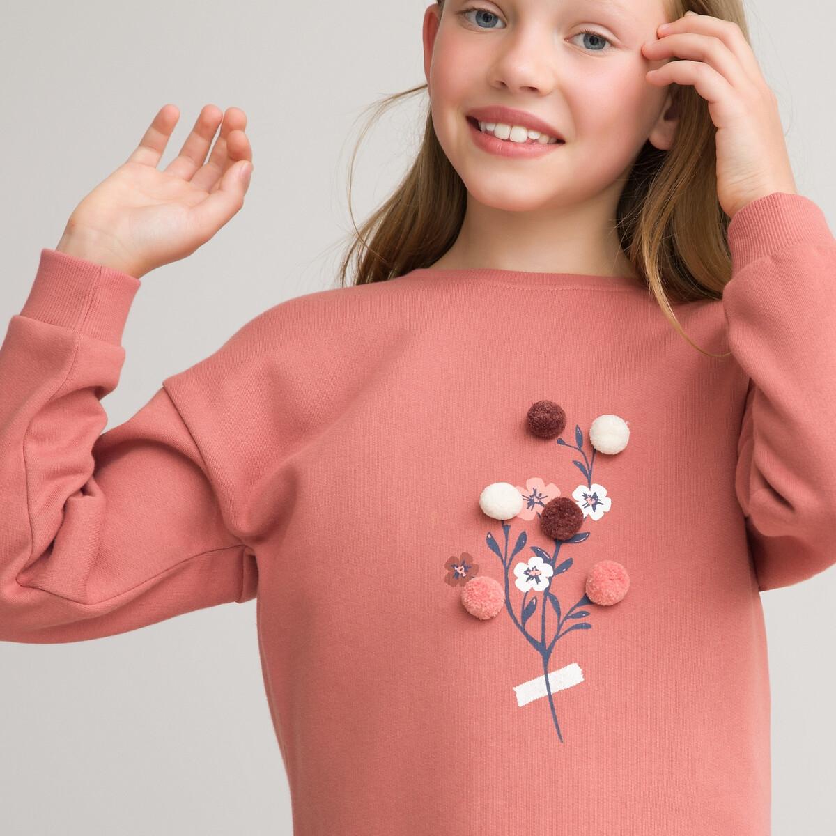 Фото - Платье LaRedoute Прямое с длинными рукавами из мольтона 3-12 лет 3 года - 94 см розовый платье laredoute с короткими рукавами из хлопчатобумажной газовой ткани 3 12 лет 3 года 94 см розовый