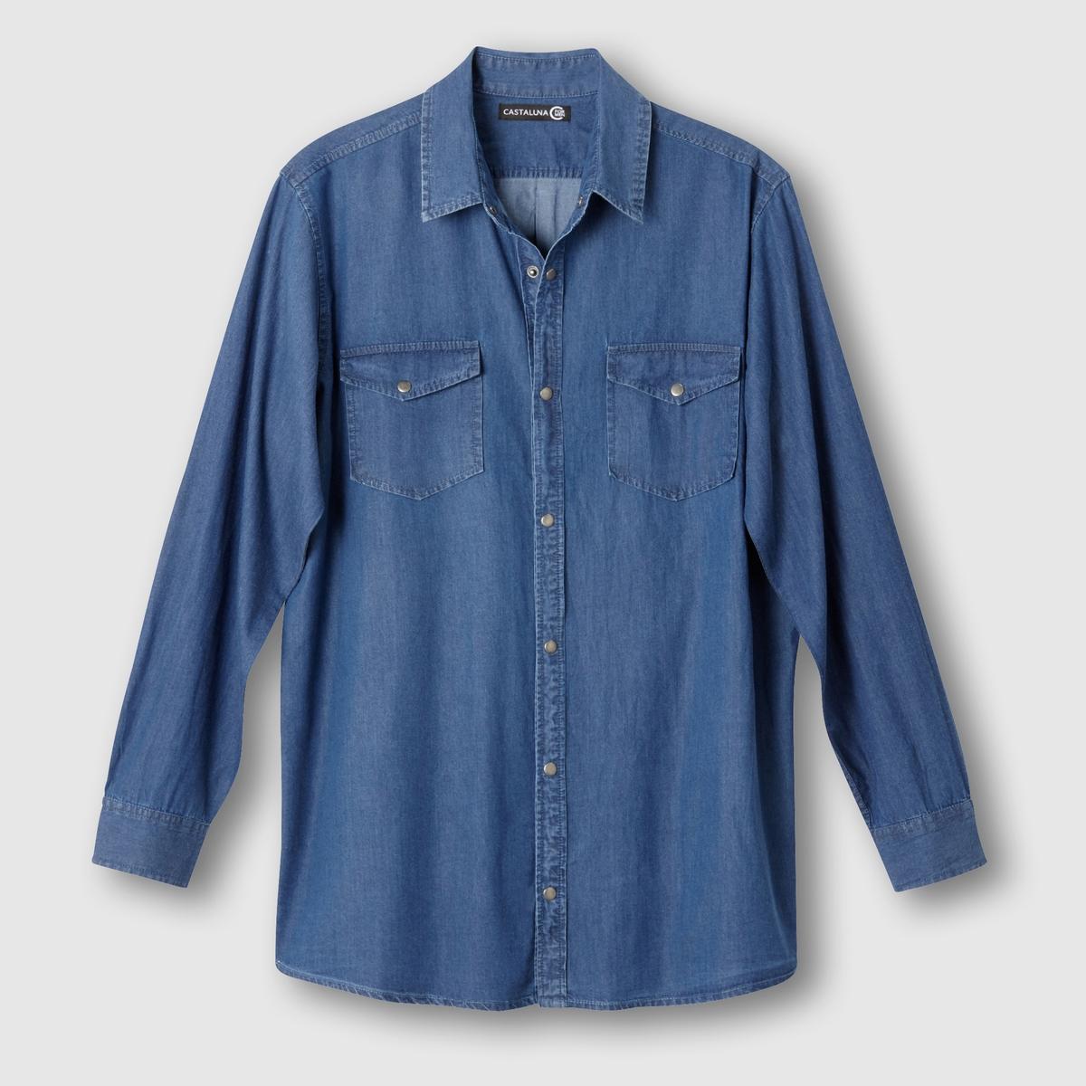 Рубашка из денимаРубашка из денима. Длинные рукава. 2 накладных нагрудных кармана с клапанами на пуговице. Застёжка на металлические кнопки. Складка для большего комфорта сзади. Закругленные полочки. Деним, 100% хлопка. Длина 85 см .<br><br>Цвет: серый,синий индиго потертый