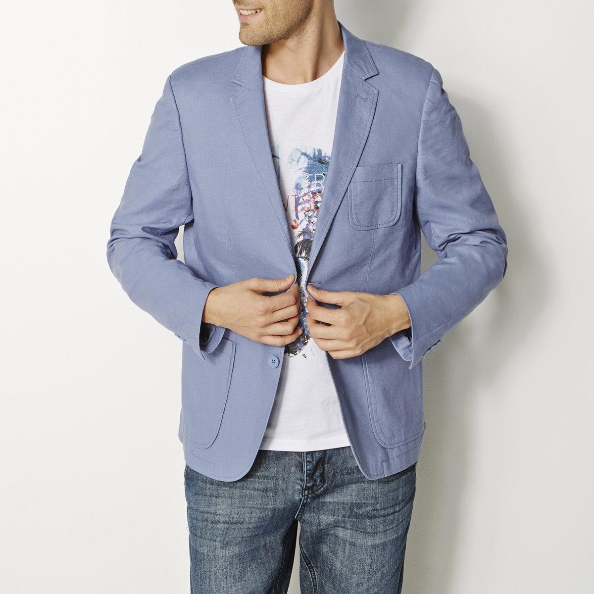 Пиджак, 55% льнаПиджак из 55% льна, 45% хлопка. 2 накладных кармана. 2 пуговицы спереди. Небольшой накладной карман на груди. Рукава с пуговицами внизу. Отделка кантом с изнаночной стороны.<br><br>Цвет: синий джинсовый<br>Размер: 42