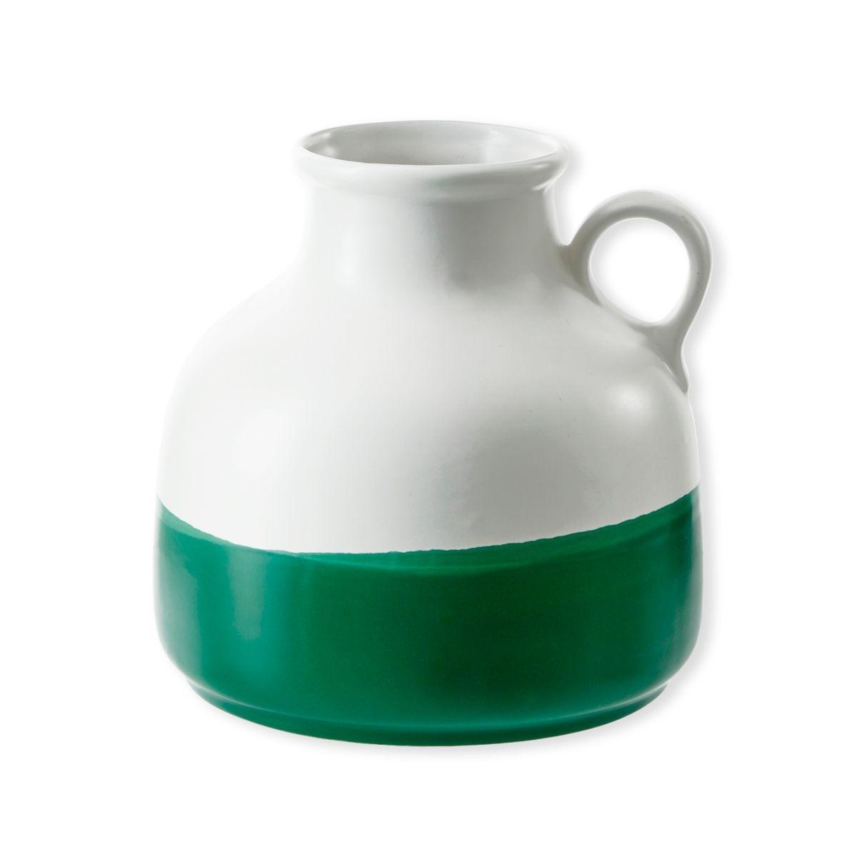 Vase en céramique blanc et vert 20cm - FEDORA