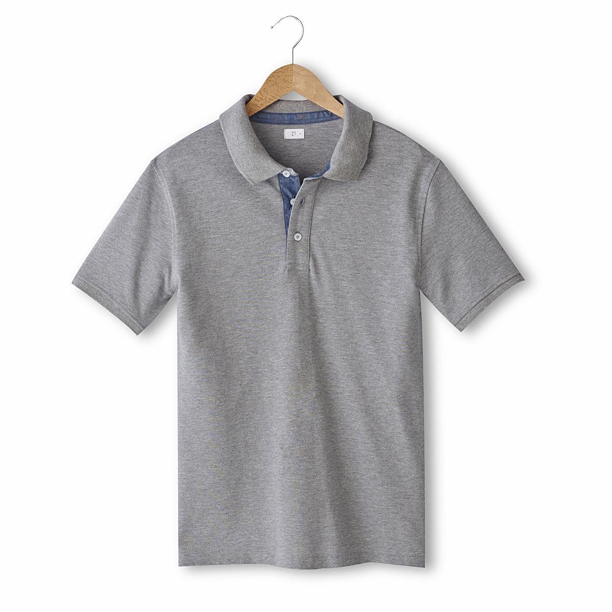 Футболка-полоФутболка-поло из трикотажа-пике, 100% хлопка. Короткие рукава. Внутренняя часть воротника из ткани шамбре. Застежка на 3 пуговицах из искусственного перламутра.Длина.73 см<br><br>Цвет: серый меланж,темно-синий