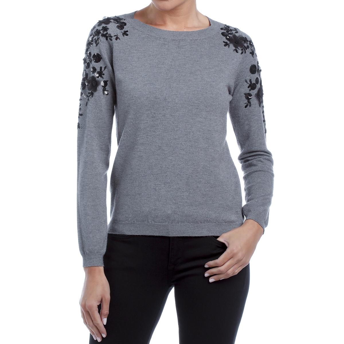Пуловер с круглым вырезом, блестками на плечах, завязки сзади
