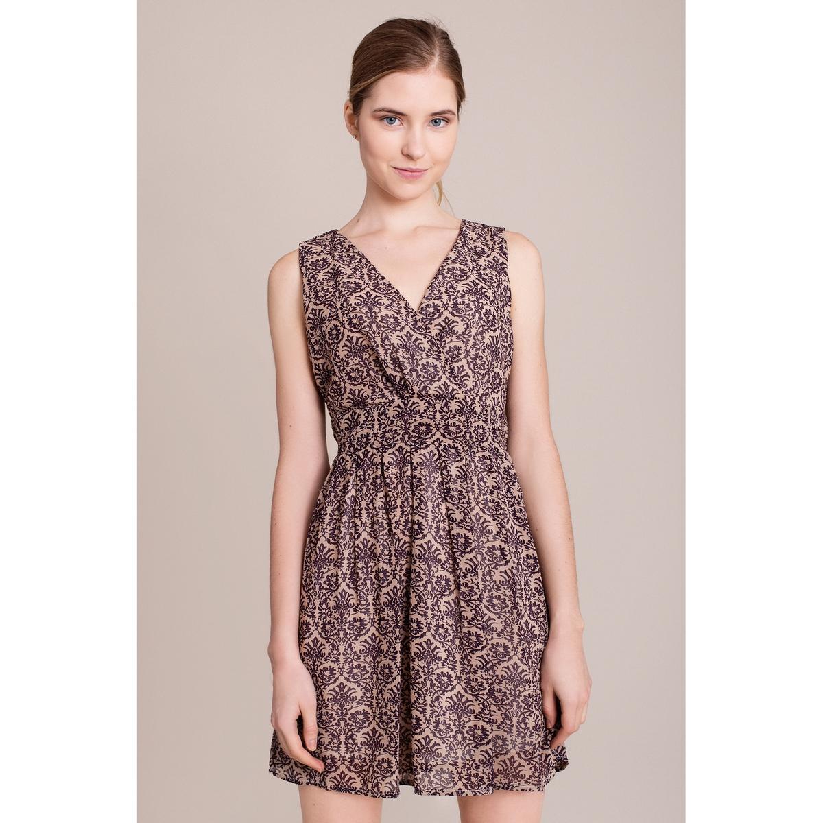 Платье с рисунком без рукавовХарактеристики и описание        Материал         100% полиэстера        Марка    MIGLE+ME<br><br>Цвет: бежевый/ синий<br>Размер: S