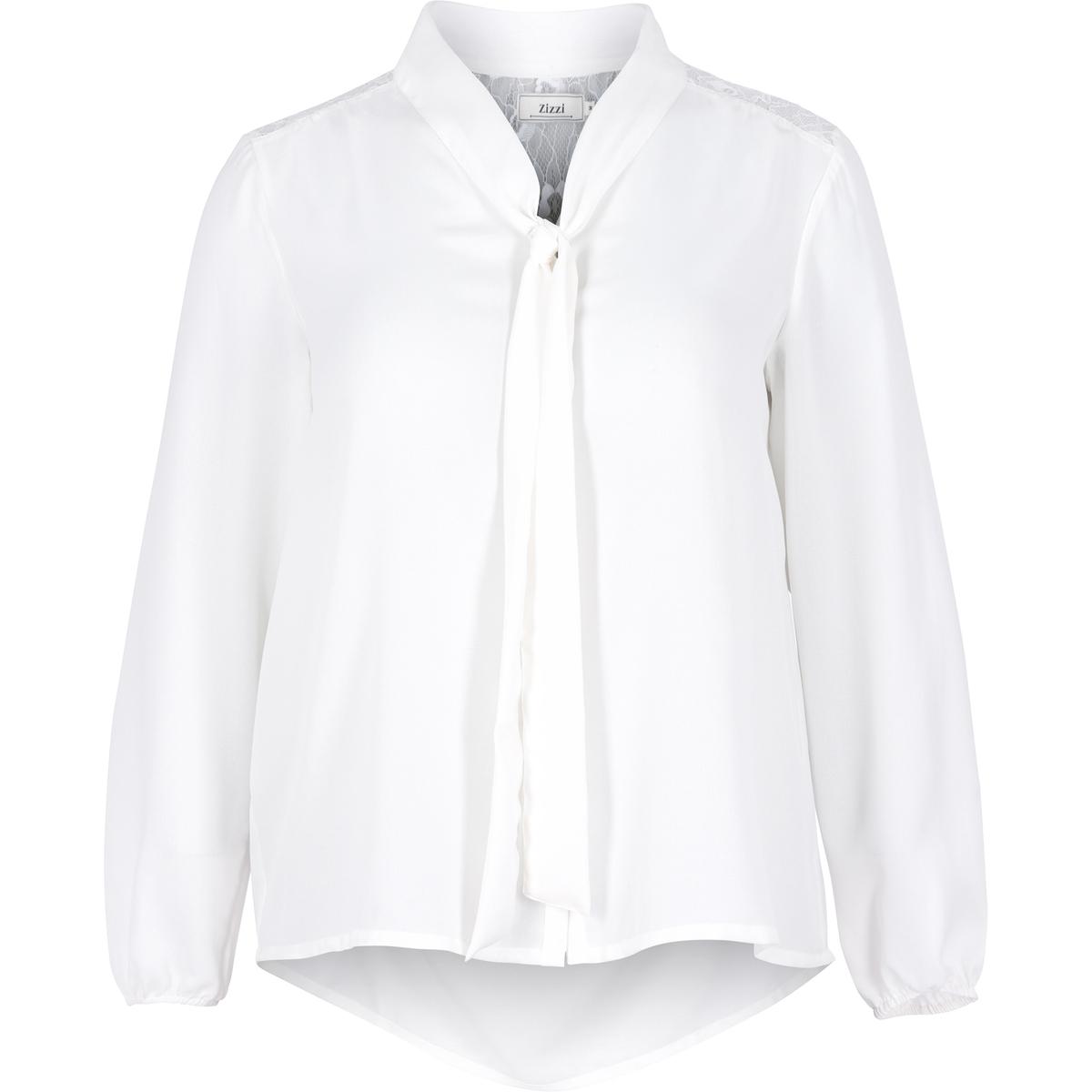 БлузкаБлузка с длинными рукавами ZIZZI. 100% полиэстер.Симпатичная блузка с длинными рукавами и с воротником-лавальер . Верх спинки из красивого кружева . Небольшие пуговицы спереди. Слегка присборенные рукава  .<br><br>Цвет: белый,черный<br>Размер: 42/44 (FR) - 48/50 (RUS)