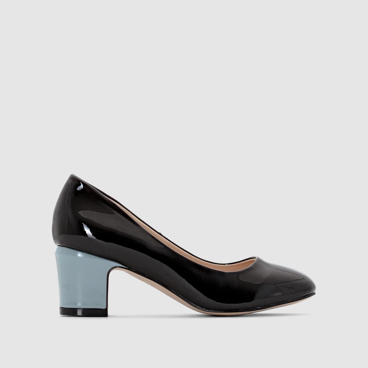 Балетки лакированные на цветном каблуке<br><br>Цвет: черный<br>Размер: 38.36