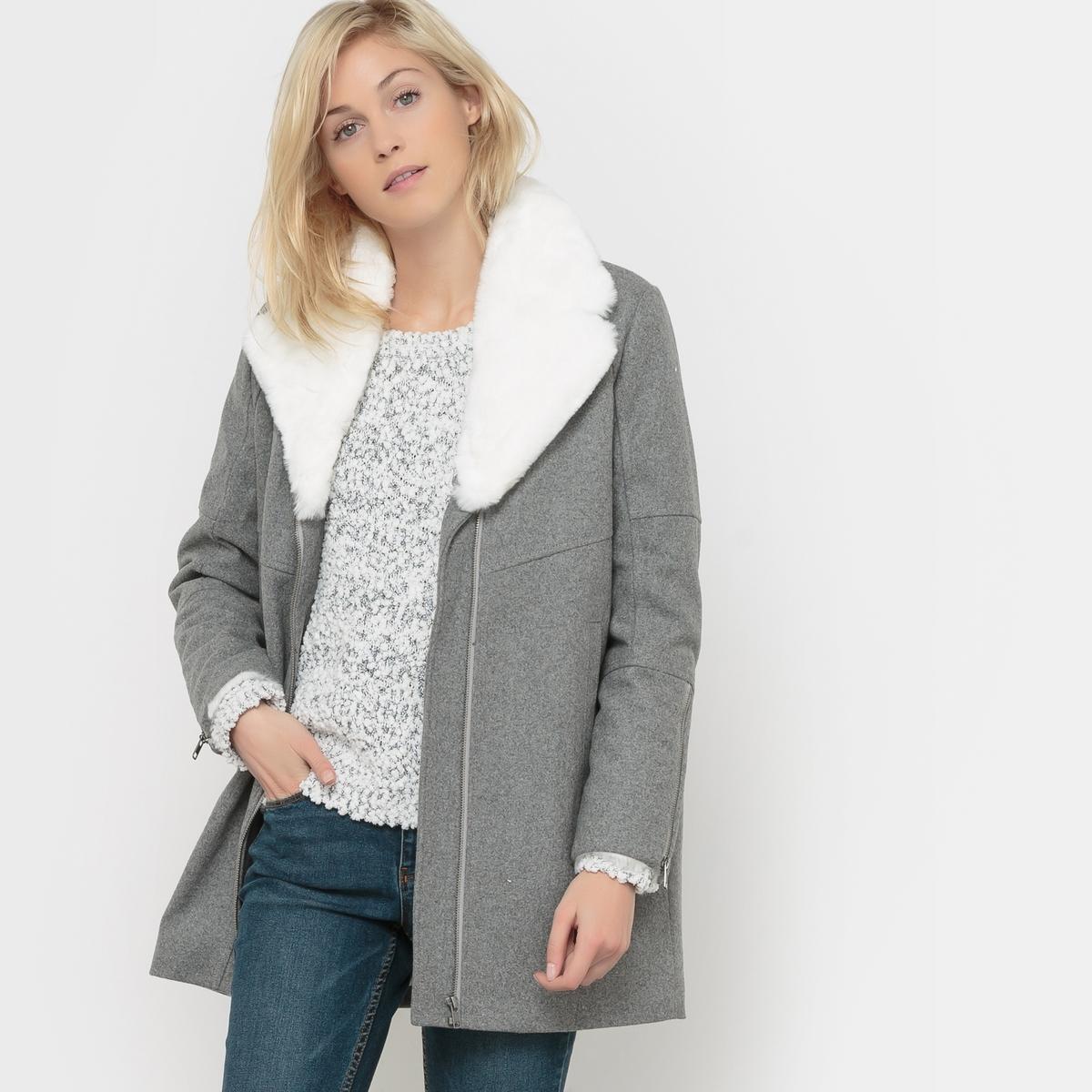 Пальто свободного покроя CAZALСостав &amp; Детали          Материал: 50% шерсти, 50% полиэстераМарка: KAPORAL                                 Уход           Следуйте рекомендациям по уходу, указанным на этикетке изделия.<br><br>Цвет: серый меланж<br>Размер: L