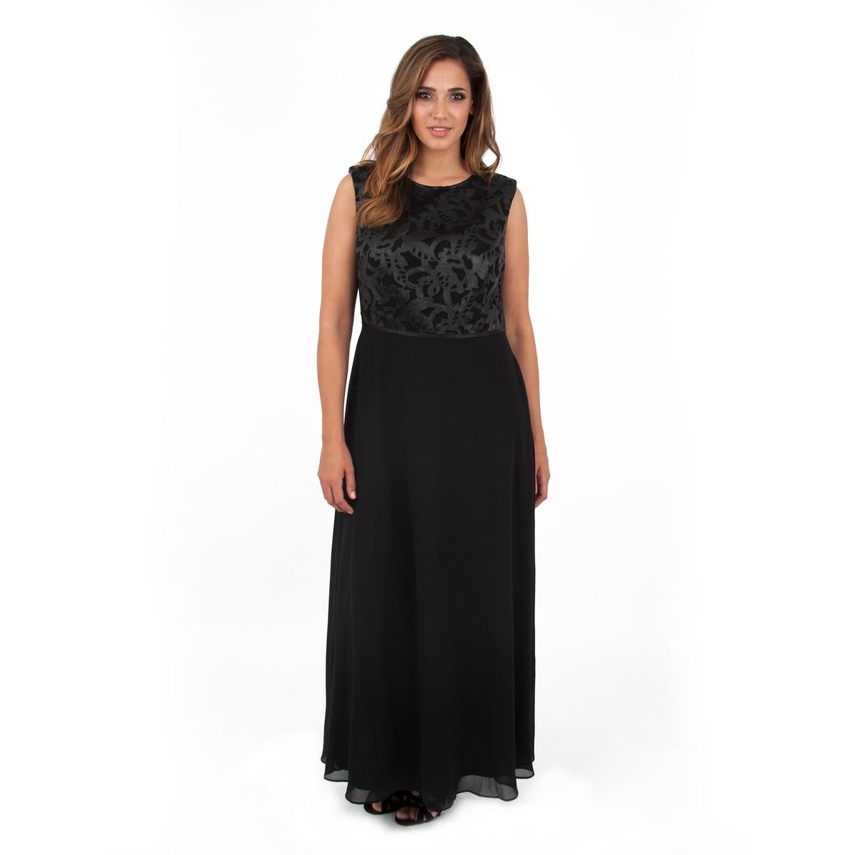 Платье длинноеПлатье длинное без рукавов - LOVEDROBE. Скрытая застежка на молнию на спине.Длина ок 155 см. 100% полиэстер.<br><br>Цвет: черный