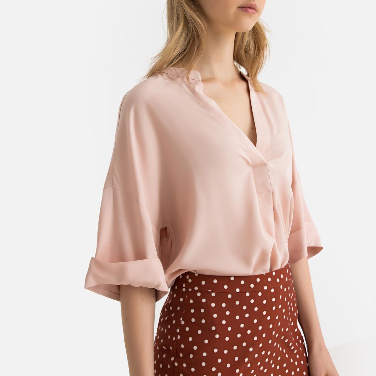 Блузка La Redoute С воротником-стойкой и короткими рукавами 34 (FR) - 40 (RUS) розовый платье свитшот la redoute с воротником стойкой и застежкой на молнию сзади 34 fr 40 rus серый