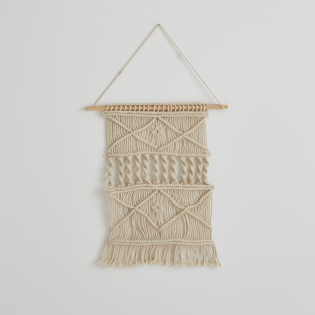 Настенный ковер в стиле макраме, малая модель, NavanitaХарактеристики :100% хлопок. Багет из сосны со шнурком. Размеры : Ш.45 x В.60 см.<br><br>Цвет: экрю