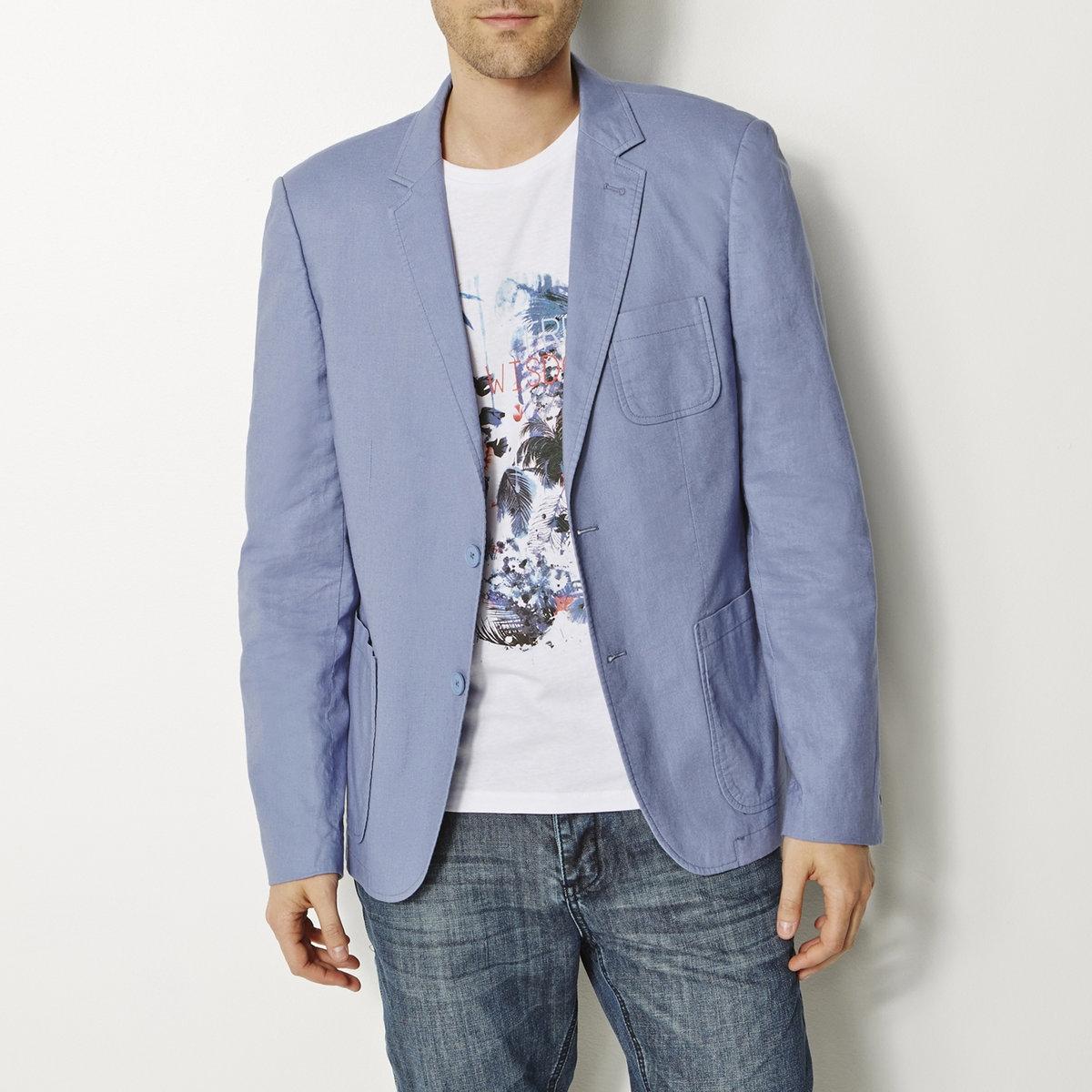 Пиджак, 55% льнаПиджак из 55% льна, 45% хлопка. 2 накладных кармана. 2 пуговицы спереди. Небольшой накладной карман на груди. Рукава с пуговицами внизу. Отделка кантом с изнаночной стороны.<br><br>Цвет: синий джинсовый<br>Размер: 44