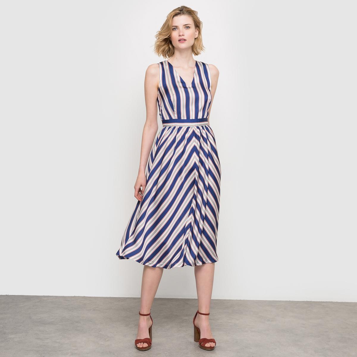Платье длинное в полоску La Redoute Collections. Цвет: в полоску