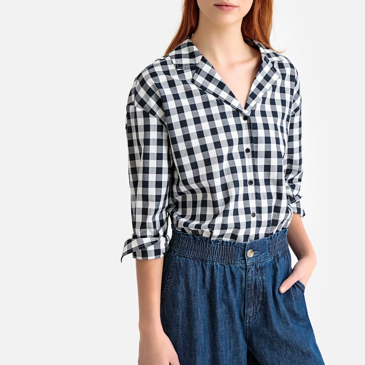 цена Рубашка La Redoute С рисунком в клетку виши и пиджачным воротником 36 (FR) - 42 (RUS) синий онлайн в 2017 году