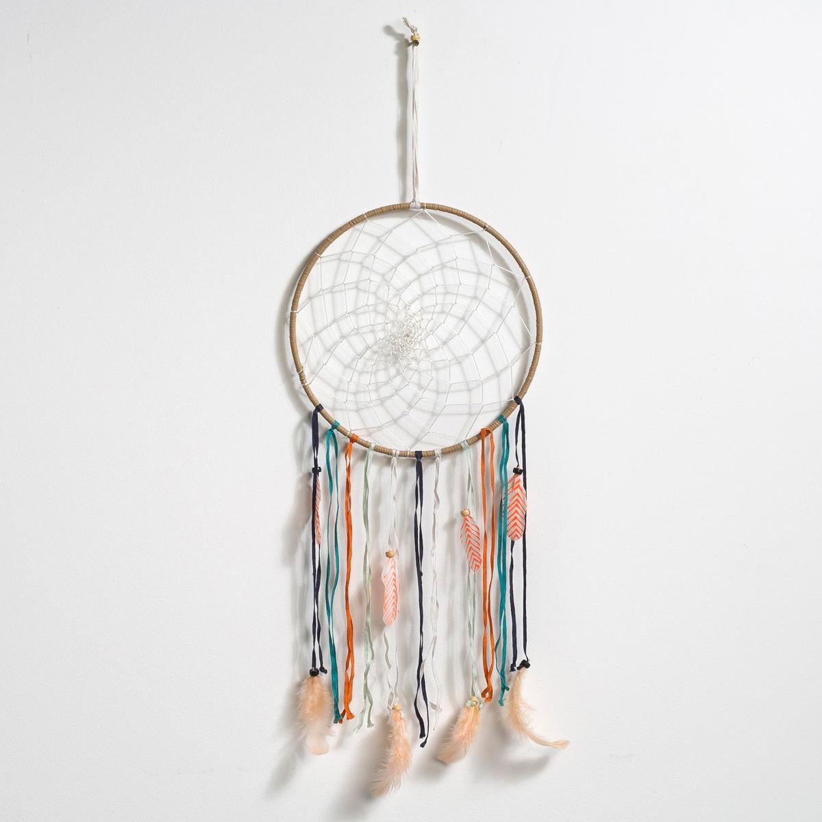 Ловец снов, VascoМеталлический обруч, покрытый тканью и украшенный перьями и бисером .Размеры : Д.23 x В.65 x Г0,5 см .<br><br>Цвет: разноцветный