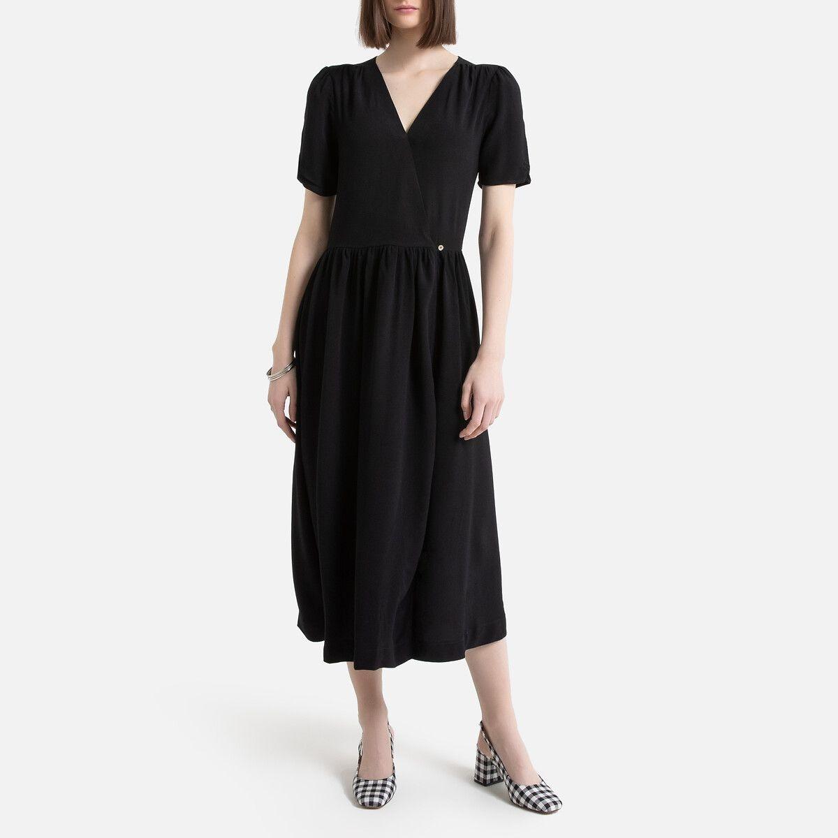 Robe longue portefeuille manches courtes