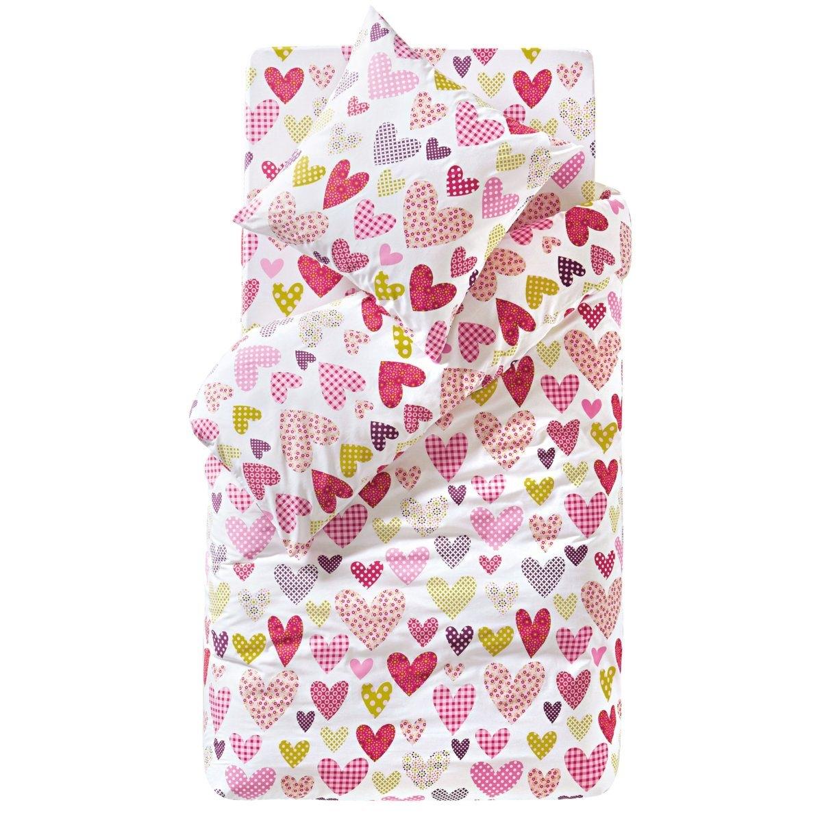 Натяжная простыня СердечкиВесенний узор из разноцветных сердечек на белом фоне! 100% хлопка. Стирка при 60°. Размер: 90 х 190 см (1-сп.).<br><br>Цвет: розовый/ зеленый/ белый