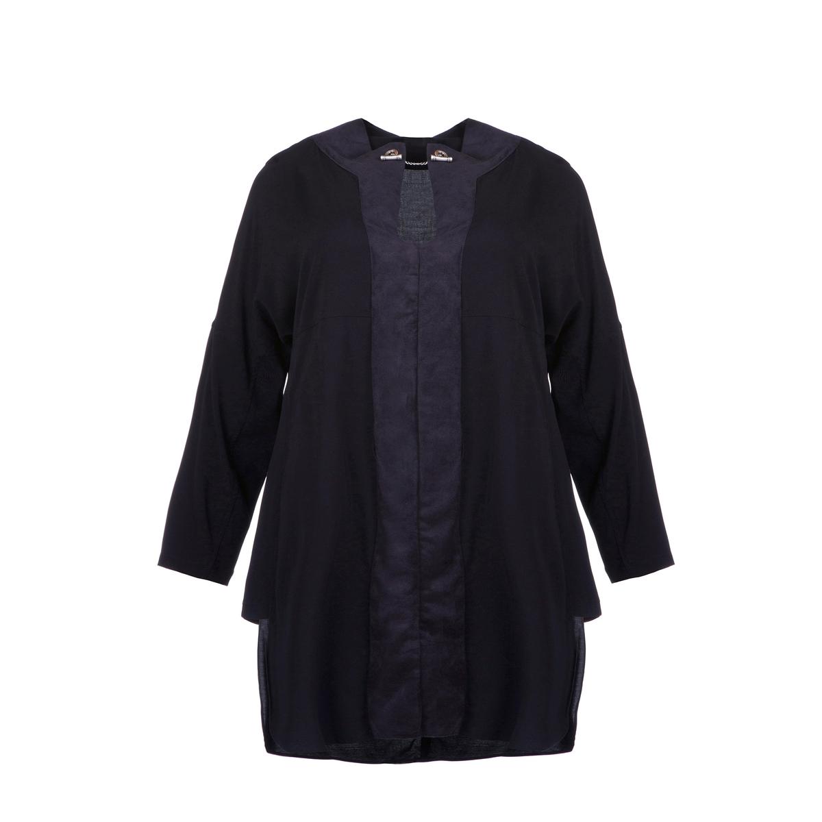 ПлатьеПлатье асимметричное с длинными рукавами MAT FASHION. 97% вискозы, 3% эластана .  Полоски из замши спереди . Длинные рукава.  V-образный вырез с тонкой цепочкой .<br><br>Цвет: черный<br>Размер: 44/46 (FR) - 50/52 (RUS)