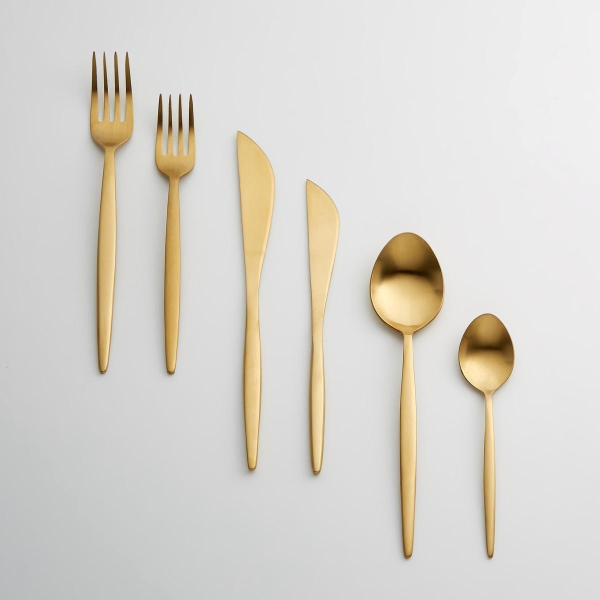 4 вилки десертных, Menella4 вилки десертных Menella . Для элегантного и яркого стола… Из нержавеющей стали с золотистой отделкой . Можно мыть в посудомоечной машине.<br><br>Цвет: золотистый