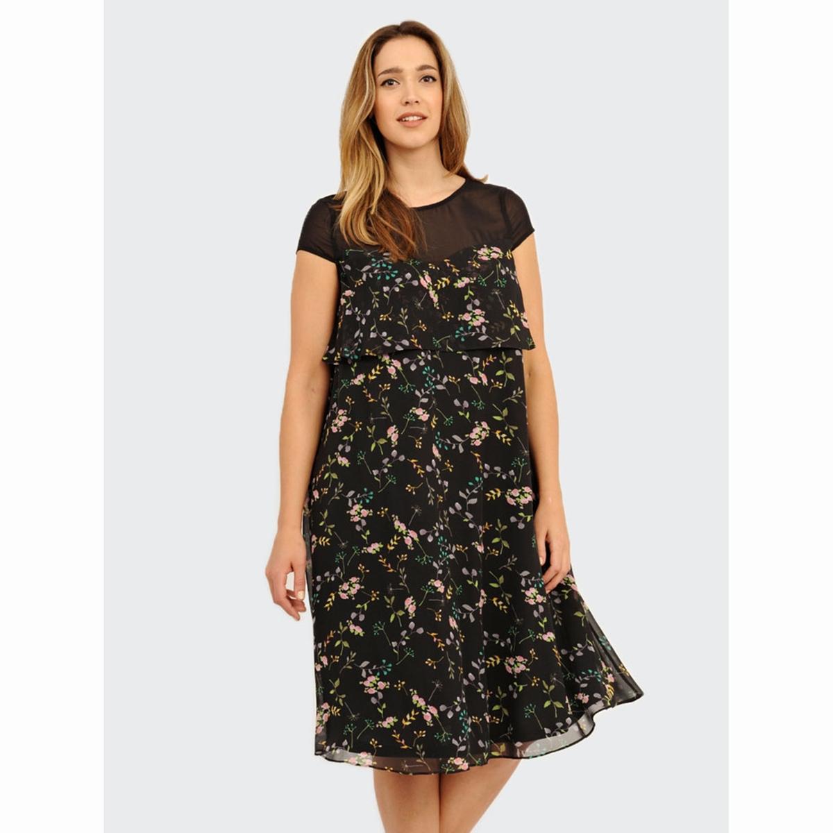 ПлатьеПлатье - KOKO BY KOKO. Длина ок.104 см. 100% полиэстера.<br><br>Цвет: набивной рисунок<br>Размер: 48 (FR) - 54 (RUS)