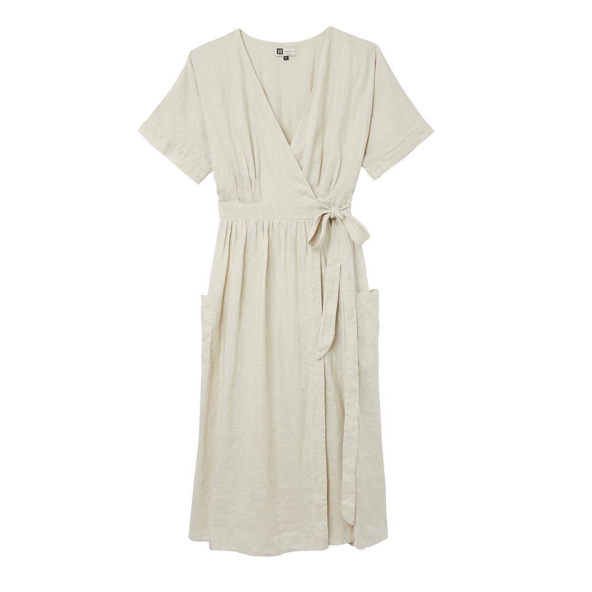 Платье La Redoute Домашнее льняное Bianca S бежевый женское платье sv005485 s m l