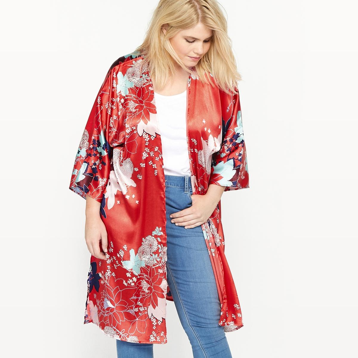 Жакет-кимоно с цветочным принтомСостав и описание :Материал : 100 % бархатистый полиэстер.Длина : 100 см для размера 48.Марка : CASTALUNA.Уход : Машинная стирка при 30°.<br><br>Цвет: цветочный рисунок<br>Размер: 42/44 (FR) - 48/50 (RUS)