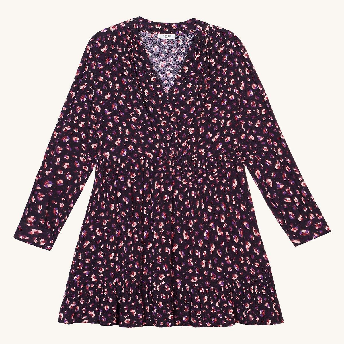 Платье La Redoute Короткое с рисунком и длинными рукавами L розовый платье la redoute короткое расклешенное с длинными рукавами l синий
