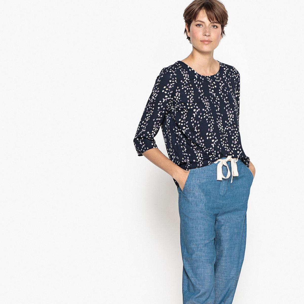 Блузка с круглым вырезом, рукавами 3/4,  цветочным принтом