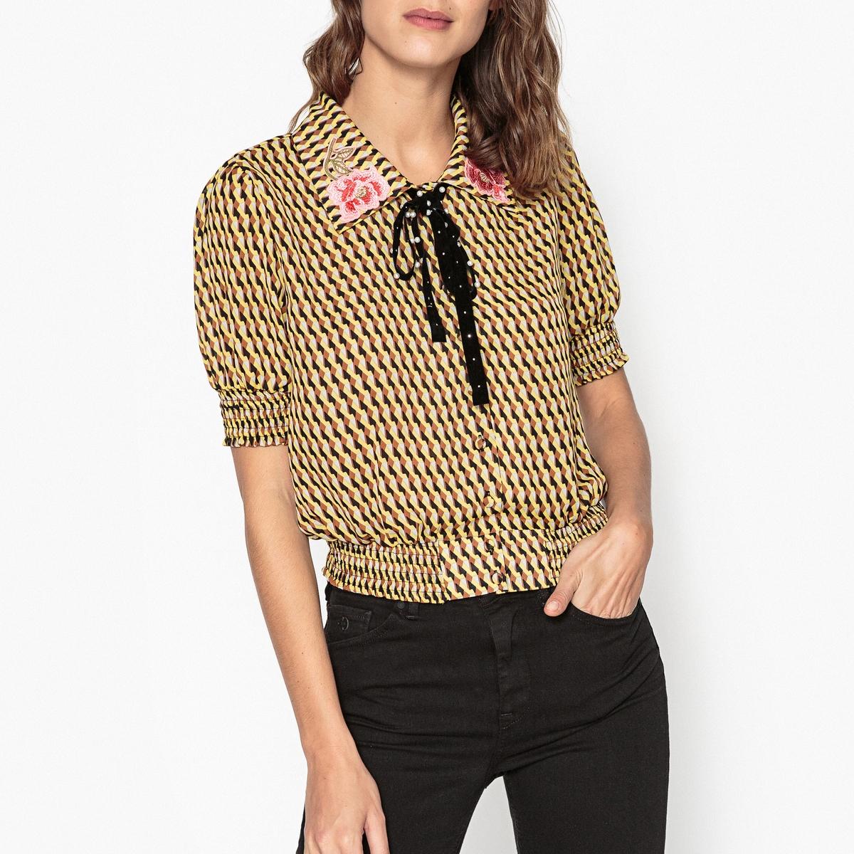 Блузка с рисунком, с галстуком-бантом