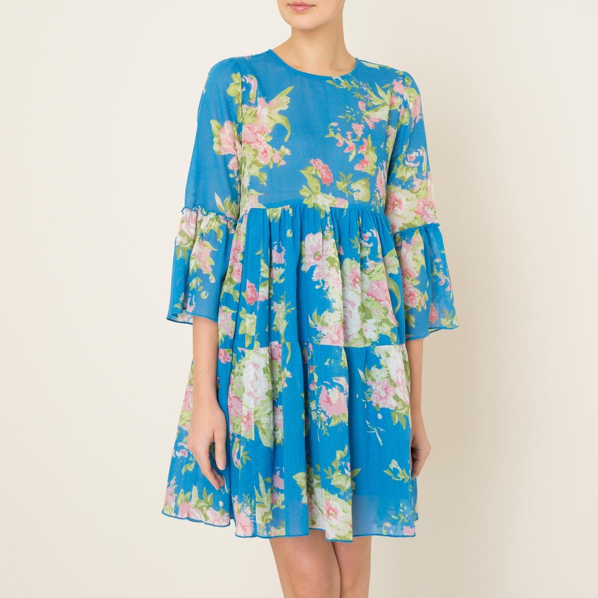 Платье с воланами ROMA TC03 FLOWERСостав и описание Материал : 100% хлопокДлина : ок.87 см. (для размера S)Марка : LEON AND HARPER<br><br>Цвет: синий