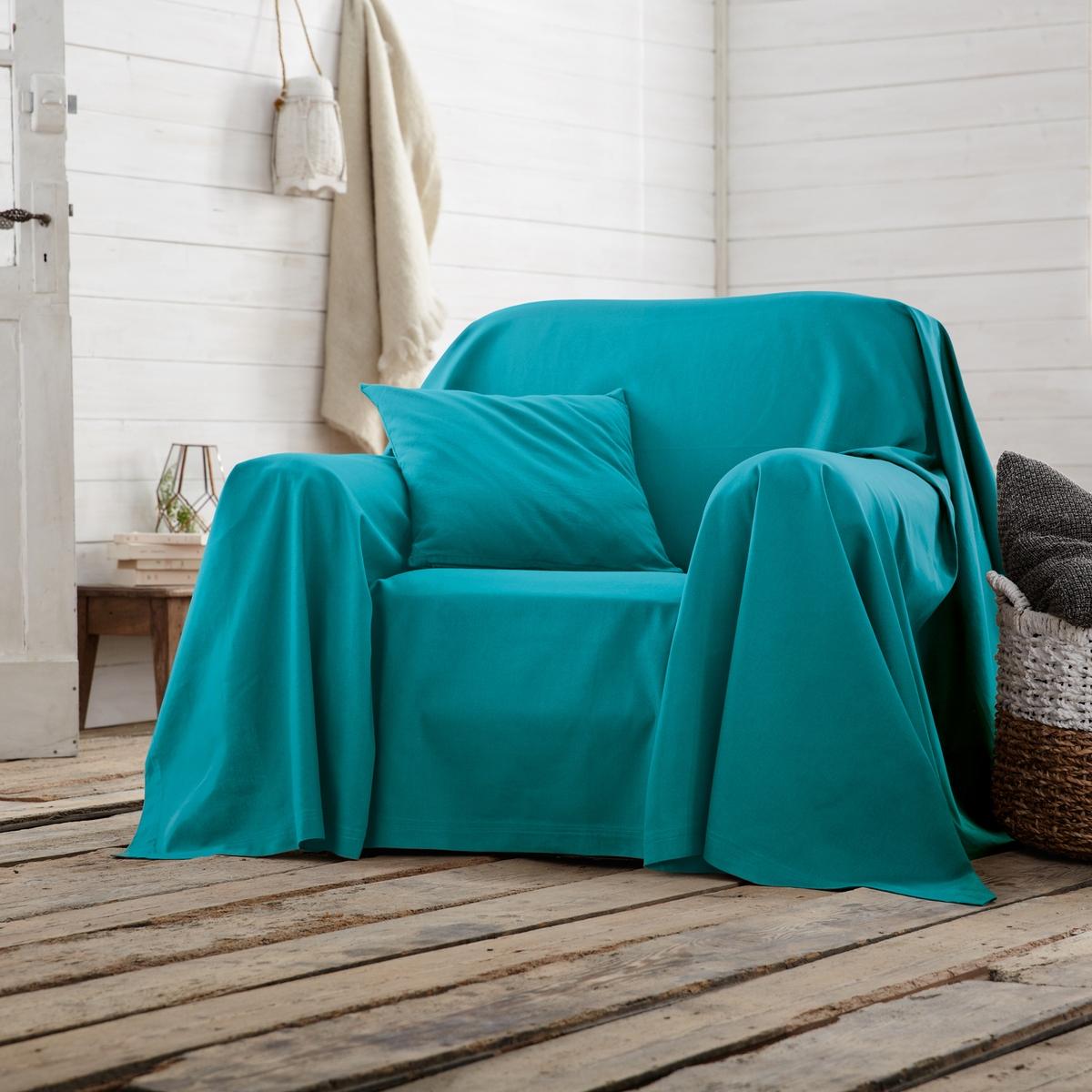 Покрывало однотонное для кресла или диванаПокрывало однотонное для кресла или дивана для декора качества Qualit? Best.Характеристики покрывала для кресла или дивана :- Хлопковая ткань (220 г/м?).- Простой уход: стирка при температуре 40°, превосходная стойкость цвета.Производство осуществляется с учетом стандартов по защите окружающей среды и здоровья человека, что подтверждено сертификатом Oeko-tex®.<br><br>Цвет: сине-зеленый<br>Размер: 250 x 250  см