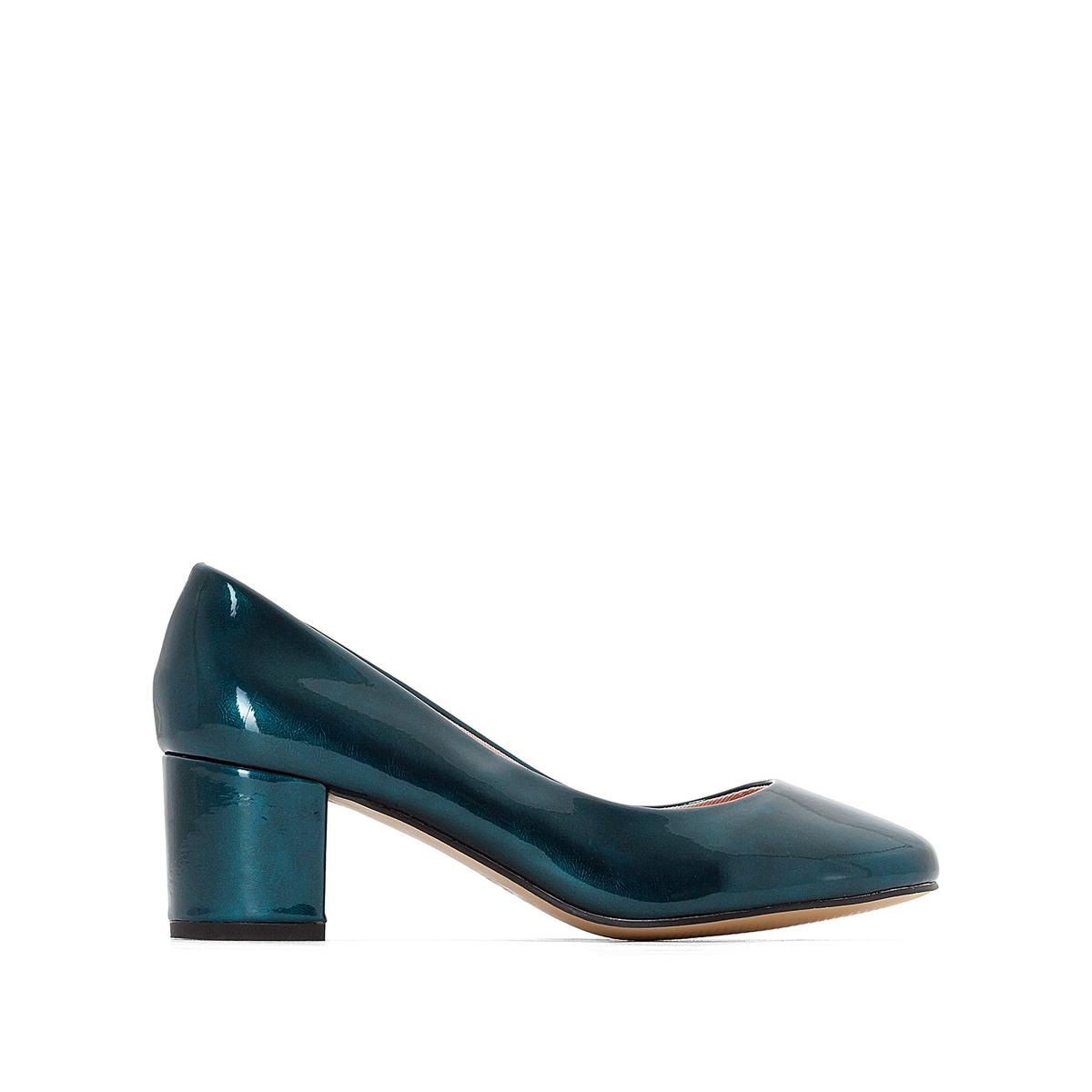 Балетки лакированные на среднем каблукеДетали   •  Высота каблука : 5,5 см •  Круглый мысок •  Застежка : без застежки •  ЛакированныеСостав и уход   •  Верх 100% синтетический материал •  Подкладка 100% синтетический материал •  Стелька 100% кожа •  Подошва 100% эластомер<br><br>Цвет: сине-зеленый,черный<br>Размер: 38.35.40.37.41.38