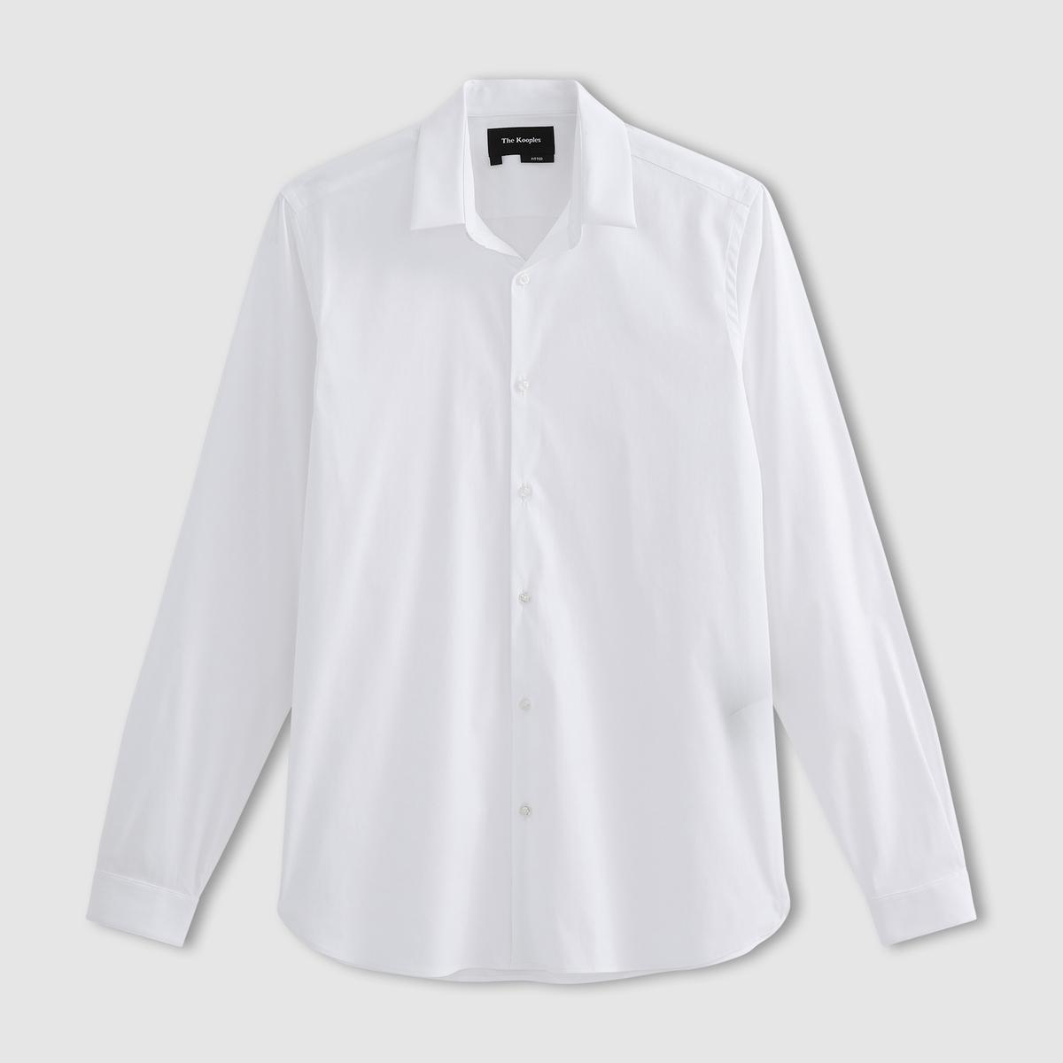 Рубашка из поплинаСостав и описание   Материал : 78% хлопка, 18% полиамида, 4% эластана    Марка : THE KOOPLES<br><br>Цвет: белый,синий
