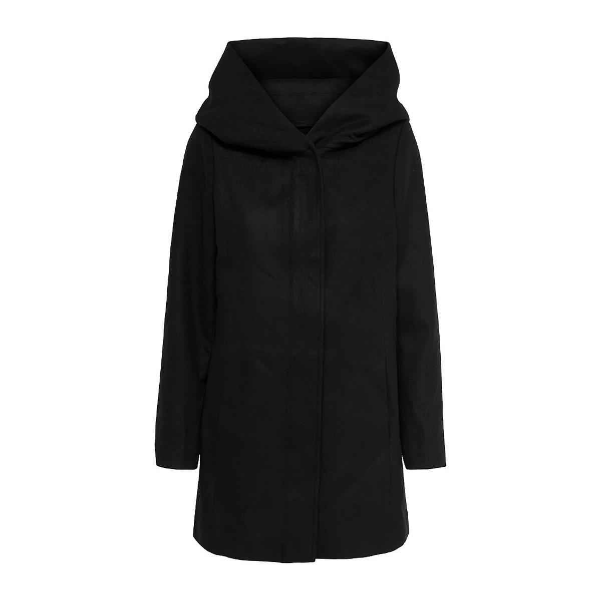 Пальто LaRedoute Прямое средней длины с капюшоном S черный