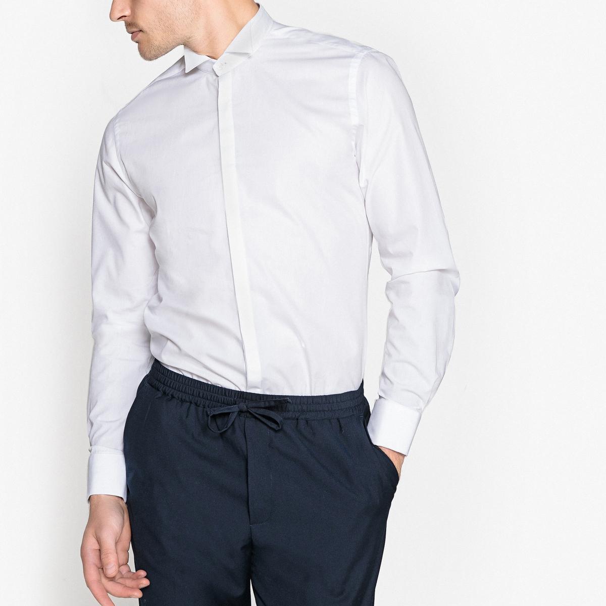 Camisa colarinho de smoking, corte slim
