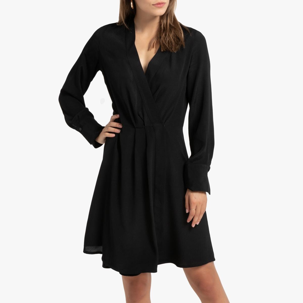 Платье La Redoute Короткое с запахом с длинными рукавами 42 (FR) - 48 (RUS) черный