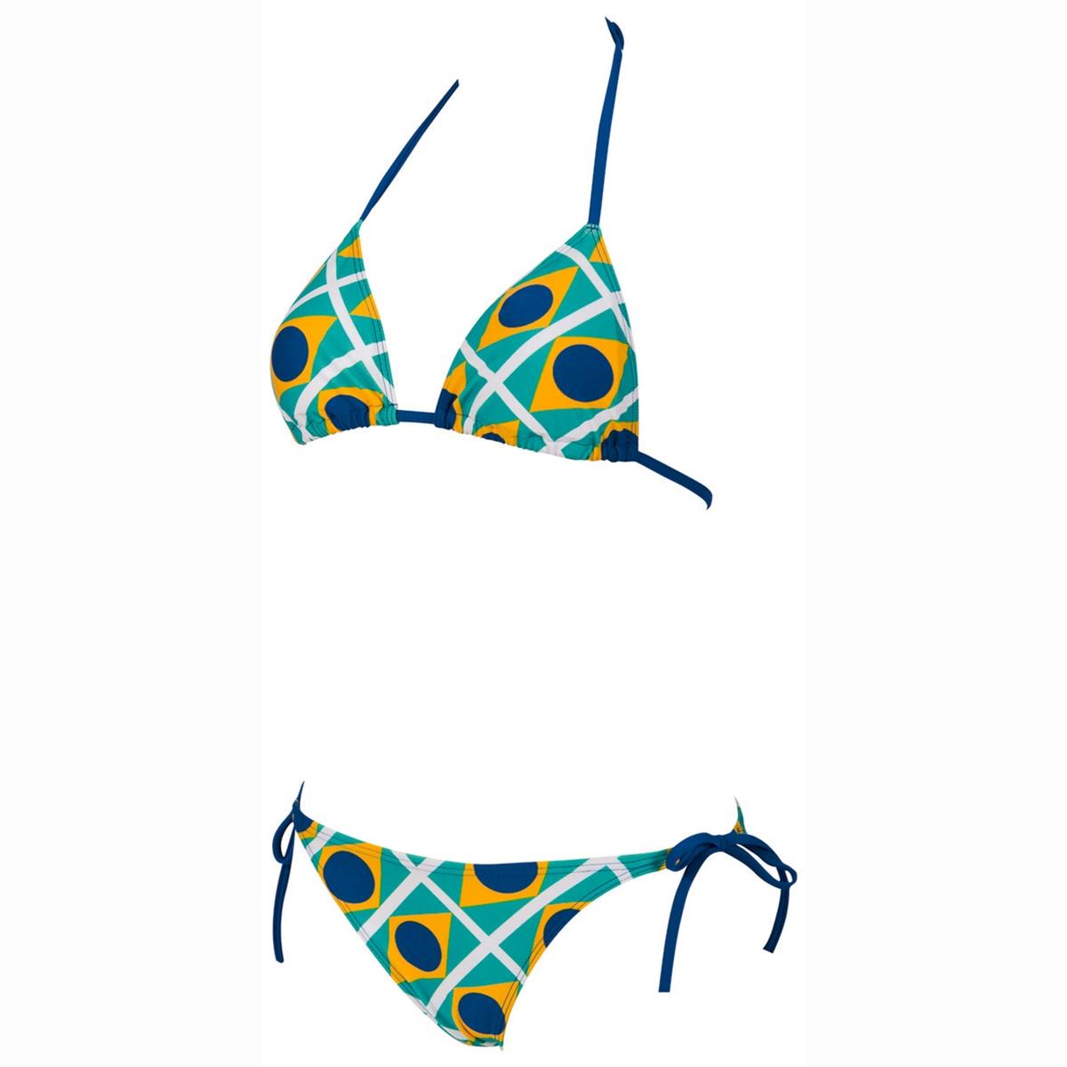 Купальник раздельныйРаздельный купальник с рисунком бразильский флаг - верх съёмных чашечек на завязках на шее - низ на завязках сбоку WATERFEEL X LIFE: ультра стрейч для максимального комфорта. С эффектом запоминания формы - RIO TRIANGLE 80% Полиамида  20% Эластана<br><br>Цвет: желтый/зеленый/синий