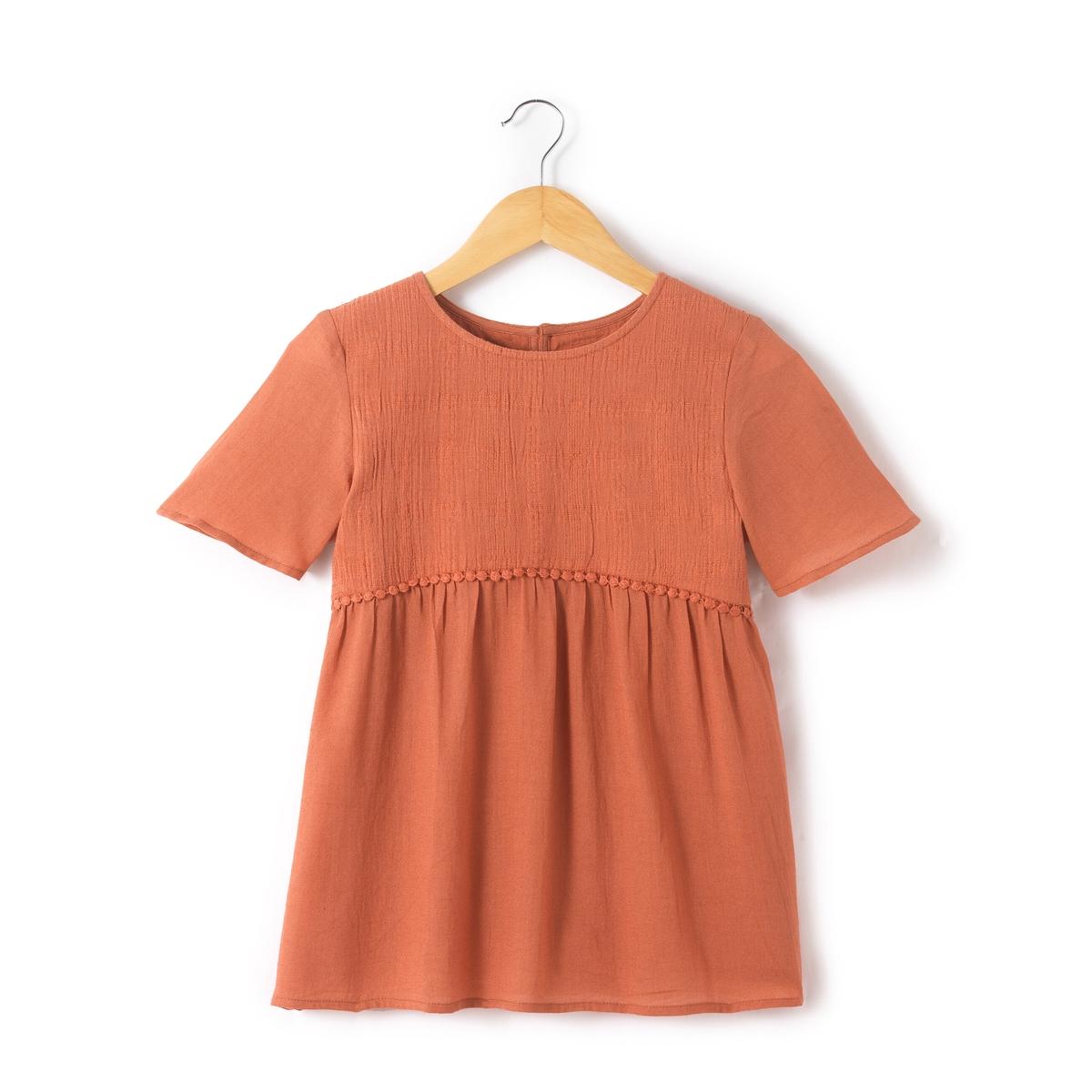 Блузка однотонная с круглым вырезом, с короткими рукавами блузка кружевная с короткими рукавами