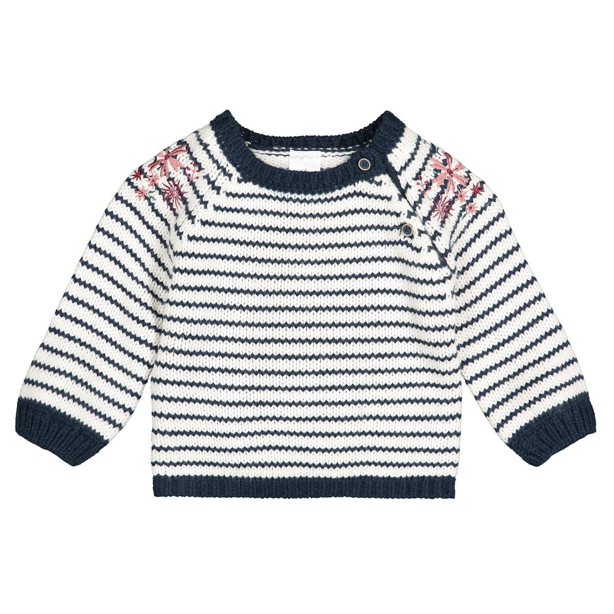 Пуловер-тельняшка La Redoute С вышивкой и круглым вырезом мес- года 1 мес. - 54 см другие шорты с вышивкой 1 мес 3 года