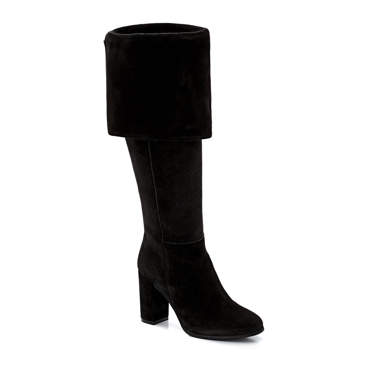 Сапоги-ботфорты на каблуке, из замши, на молнииОчень современные сапоги-ботфорты из великолепной замши, которые можно носить как с отворотом, так и без него, что подчеркнет: выгодным образом Ваш силуэт!<br><br>Цвет: серый<br>Размер: 40